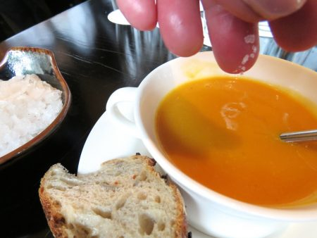 butternut soup with flakes